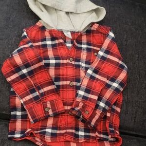 18 month baby boy plaid button up hoodie